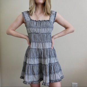 Vintage Gingham Striped Off-Shoulder Mini Dress
